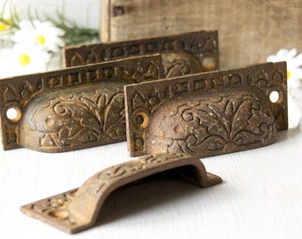 4 Antique Cast Iron Drawer Bin Pulls - late 1800's Early 1900's - Escutcheon - Restoration Drawer Cabinet Hardware - Architectural Salvage