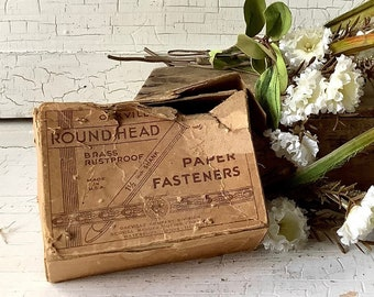 Vintage advertising box of 83 Brass Brads Fasteners 3 inch &1-1/2 inch Vintage Office Desk Accessories Stationary scrapbooking art supplies