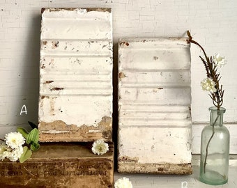 Architectural Salvage Antique Plinth Block White Chippy Paint Interior Molding Reclaimed Trim French Country Farmhouse Wall Art