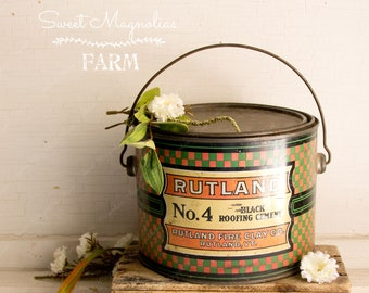 Antique Rutland Roofing Cement Can Pail Tin Litho Bail Handle Vintage Advertising 1800s Farmhouse Style General Hardware Store Mercantile