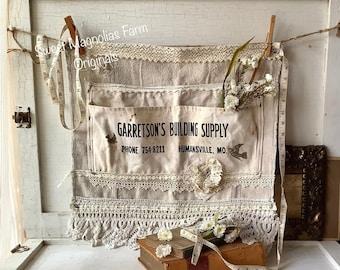 Vintage Advertising Half Hardware Apron Antique Crochet Lace Trim Farmhouse Shabby French Country Chic Rustic Kitchen Studio Market Apron