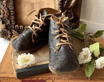 Vintage Leather lace up Baby Shoes ~ Aged and Weathered to Perfection ~ Farmhouse Country Chic Primitive Style Home Decor - Doll Photo Prop