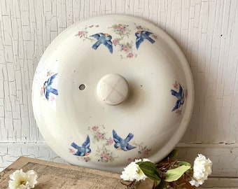 Vintage Bluebird Serving Dish Lid China - Vintage Farmhouse Kitchen Decor Dining Dishes - Shabby Farmhouse Cottage Chic - Wall Art