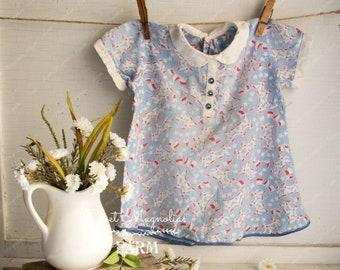 Vintage Sailor Print Baby Girls Dress 1930s Handmade Cotton Farmhouse Country Shabby Cottage Prairie Chic Home Decor Patriotic Americana