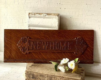 Antique Wood New Home Sewing Machine Sign Advertising French Country Cottage Farmhouse Rustic Wall Art Studio Home Decor