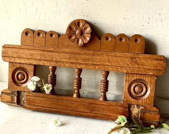 Carved Wood Pediment Crown Antique Vintage Eastlake Architectural Salvage Reclaimed Wood Trim Wall Art French Country Farmhouse Home Decor