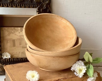 3 Vintage Japan Wood Bowls  - Rustic French Farmhouse Country Chic Kitchen Decor - Instant stackable collection