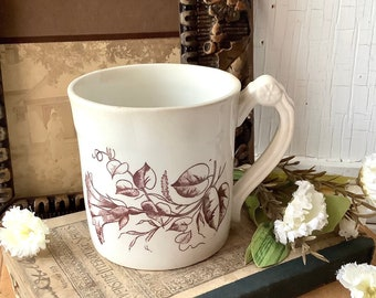Vintage Brown English Transferware Floral Cup Mug Ironstone Coffee Tea Kitchen Farmhouse French Country Shabby Chic Style Home Decor