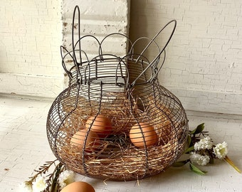 Vintage French Round Wire Egg Basket - Handles Folding Top Wire Ware -  Farmhouse Kitchen Rustic Gathering Primitive Country Chic Home Decor
