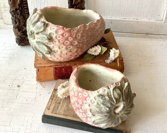 2 Vintage Concrete Garden Strawberry Planters Yard Art Decor Ornament Statue Shabby Chic Farmhouse French Country Cottage Style Home Decor