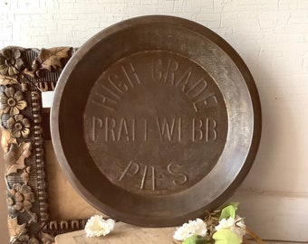 Vintage Pratt Webb Pies Tin Dish Metal Pie Plate Kitchen Cooking Baking Pan French Country Farmhouse Chic Home Wall Decor Advertising