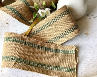 15 yds + Natural Jute Burlap Green Webbing 3-1/2 DIY Craft Upholstery Furniture Vintage Antique French Country Farmhouse Rustic Home Decor
