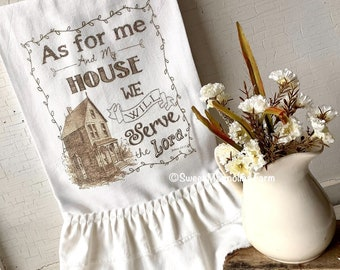 """Flour Sack Kitchen Tea Towel Garden Farmhouse Country Cottage Shabby Chic Style Ruffled """"As For My House Will Serve The Lord"""" Birds Spring"""
