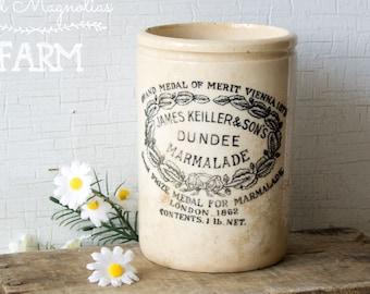Antique English Ironstone Dundee Marmalade Jar Pot Crock - Vintage Kitchen Advertising