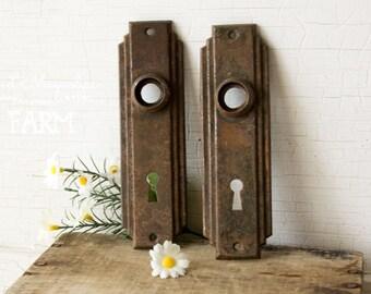 2 Antique Hardware Door Plates - Decorative Art Deco Design - Architectural Salvage Back Plate