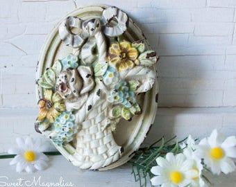 Vintage Cast Iron Door Knocker- Flower Basket - 1900s  - Decorative Hardware - Shabby Chic Cottage Garden