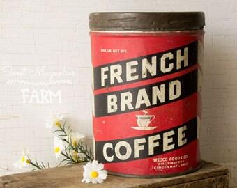 Vintage café Français peut Tin - rouge et blanc - étain Litho - Cincinnati Ohio,