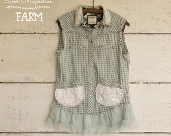 Flannel Sleeveless Shirt - Tunic - Size Small - Boho Clothing - Upcycled - Light Blue White Plaid Vintage Lace pockets flower Shabby Chic