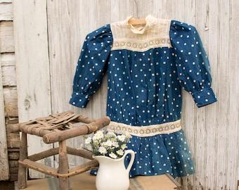 des années 1920 les filles Polk une point coton robe broderie anglaise Insertion goutte taille - fait main - chasuble - robe d'été - culottes - Cottage Shabby campagne Chic