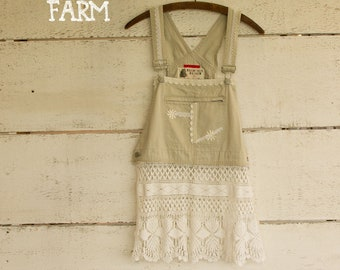 Upcycled Overalls Antique Lace Top Shirt Blouse - Tunic- Size Sm - Med  - Boho Clothing - Pull Over - Shabby Prairie Chic Clothing