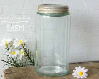 Antique Blue Glass Jar- Aluminum Lid - Mold Blown Glass - Canning Condiment - Vintage Farmhouse Country Kitchen Chic Home Decor