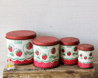 Vintage Toy Red Strawberries Kitchen Metal Canister Set of 4 - 1950's Childs Kitchen Tin Toys - Wolverine - Miniatures