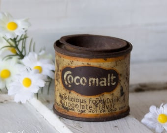 Rare Vintage Sample Advertising Tin Can Cocomalt - Chocolate Drink - 1940s- Soda Fountain - Grocery General Store Collectible Marked Sample