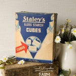 Vintage Staleys Gloss Starch Cubes Box - Vintage Advertising - Laundry Bath Room - Country Farmhouse Retro Chic Decor - 1930s Drugstore