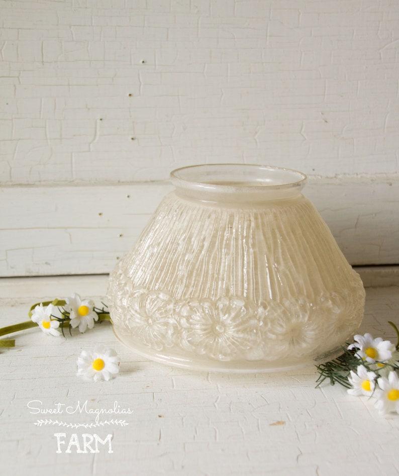 Antique Glass Light Shade  Raised Floral Design  1920s  Art image 0