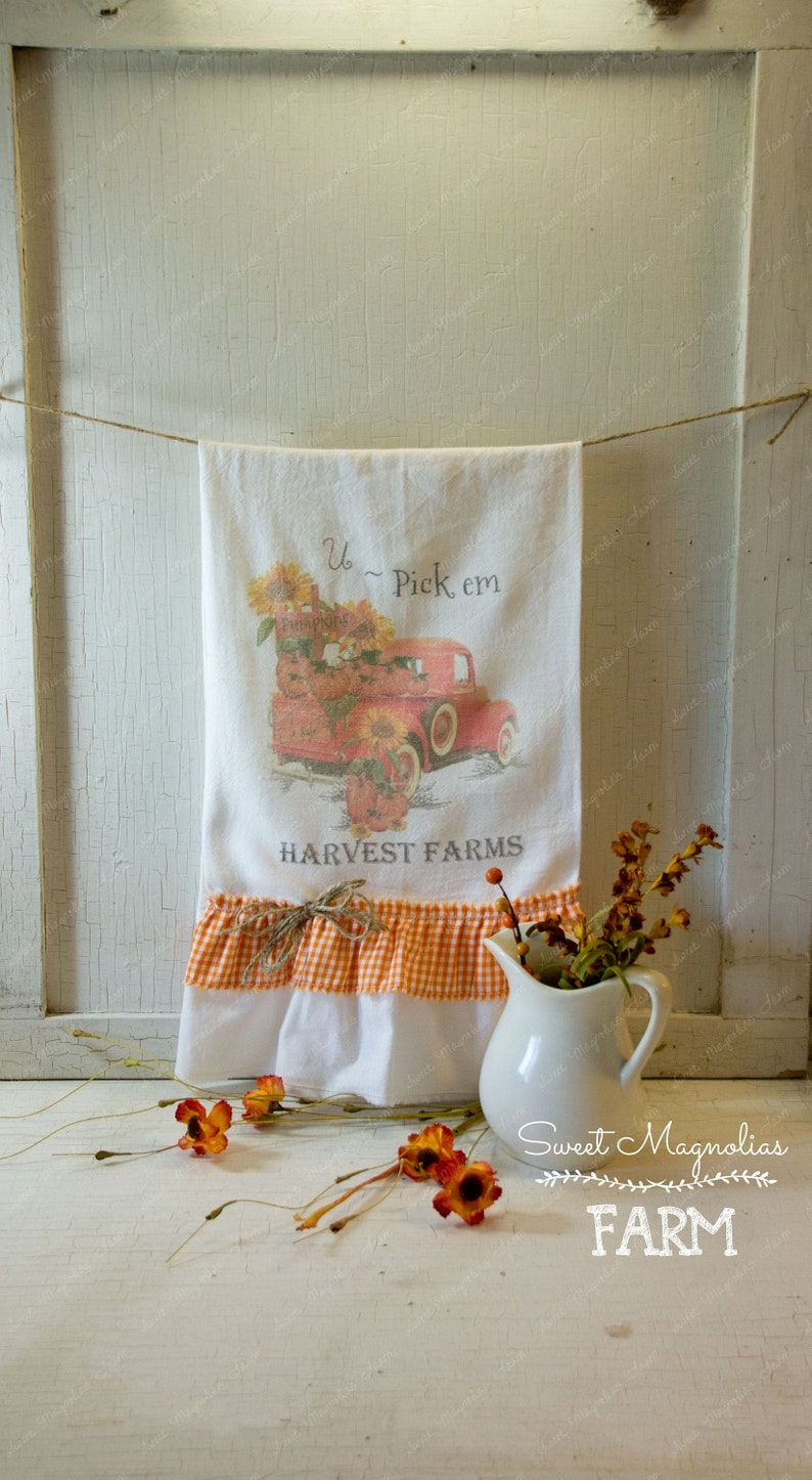 Flour Sack Kitchen Towel Fall Farmhouse Country Cottage Chic image 0