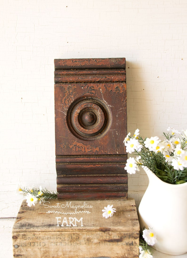 Architectural Salvage Wood Plinth Block  Aged Alligatored  image 0