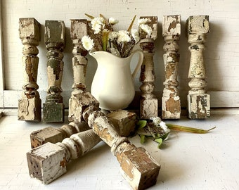Antique Vintage Chippy Spindle Architectural Salvage Moulding Reclaimed Wood Porch Trim Shabby French Country Farmhouse Chic Decor