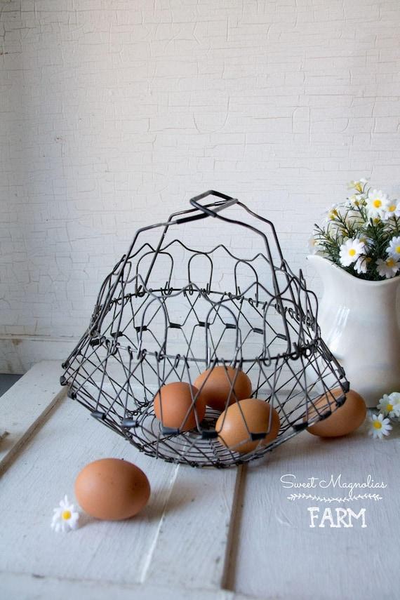 Vintage Wire Egg Basket Collapsible Changes Shape | Etsy