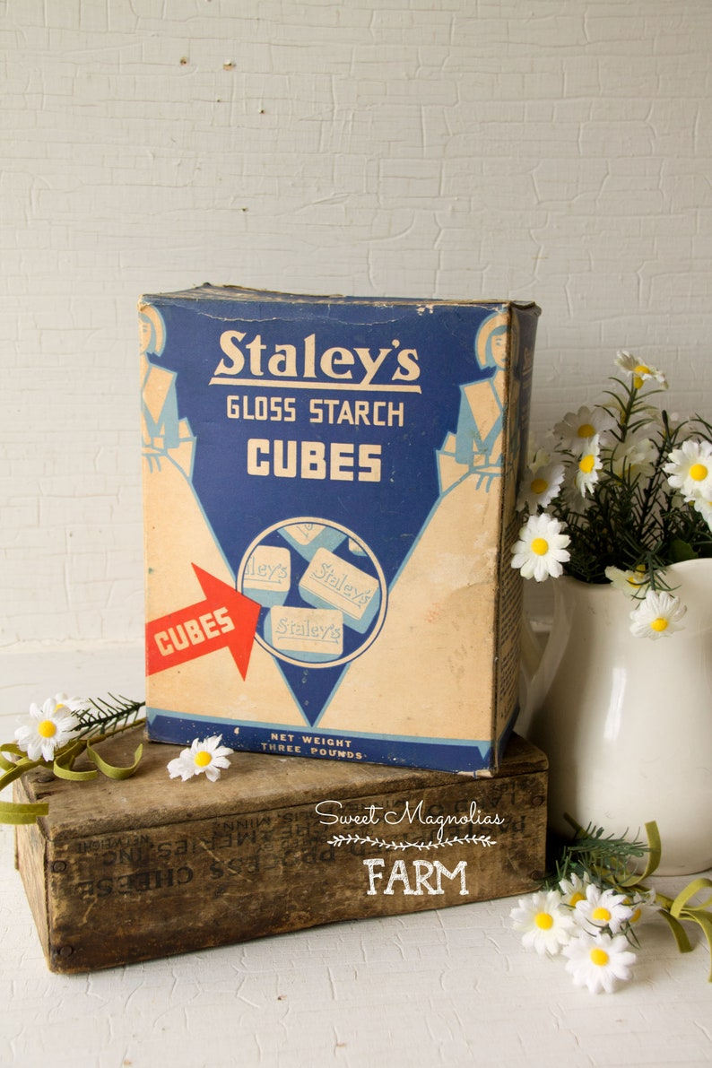 Vintage Staleys Gloss Starch Cubes Box  Vintage Advertising  image 0