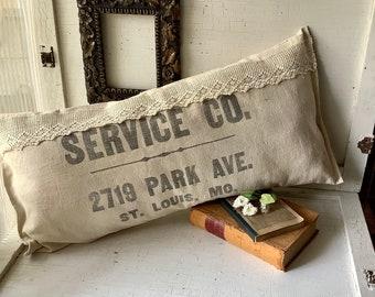 Vintage God Bless Our Home Stitchery Motto Farmhouse Pillow - OOAK - Petticoat Ruffle - White and Cream