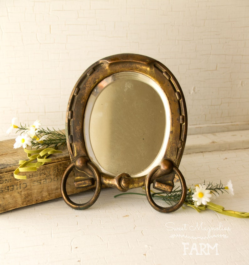 Antique Horseshoe Western Shaving Mirror Stand  Victorian image 0