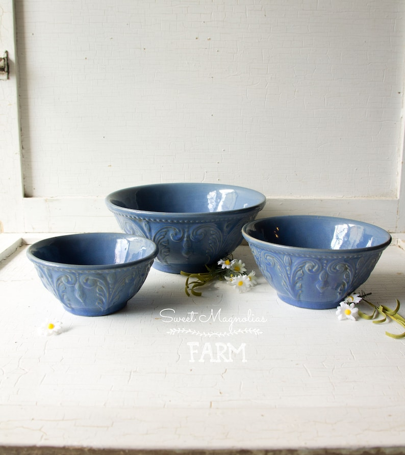 Antique Jeffords Design Blue Yellowware Nesting Mixing Bowl image 0