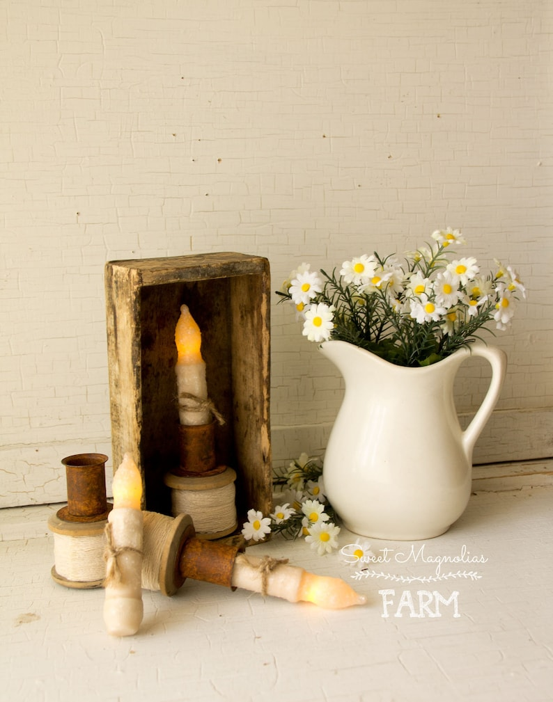 Timed Taper Candle & Holder Set  Wood Spool  White image 0