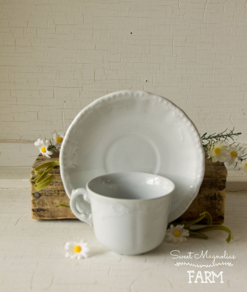 Antique White Ironstone Cup and Saucer  Coffee  Tea  Cocoa image 0