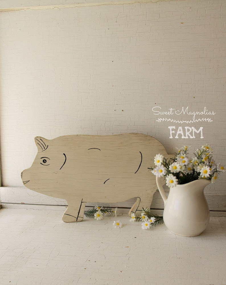 Vintage White Wood Pig  Wall Art  Farm Art  Folk Art  image 0
