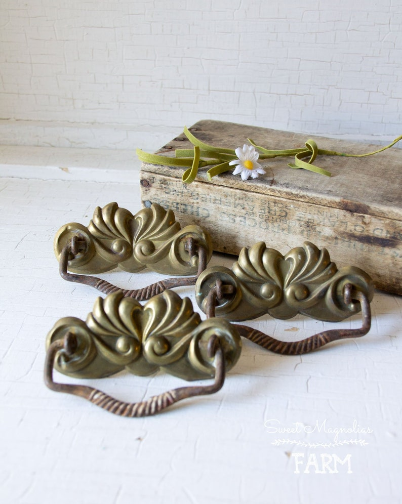 3 Antique Stamped Metal Drawer Pulls  Brass Plated Escutcheon image 0