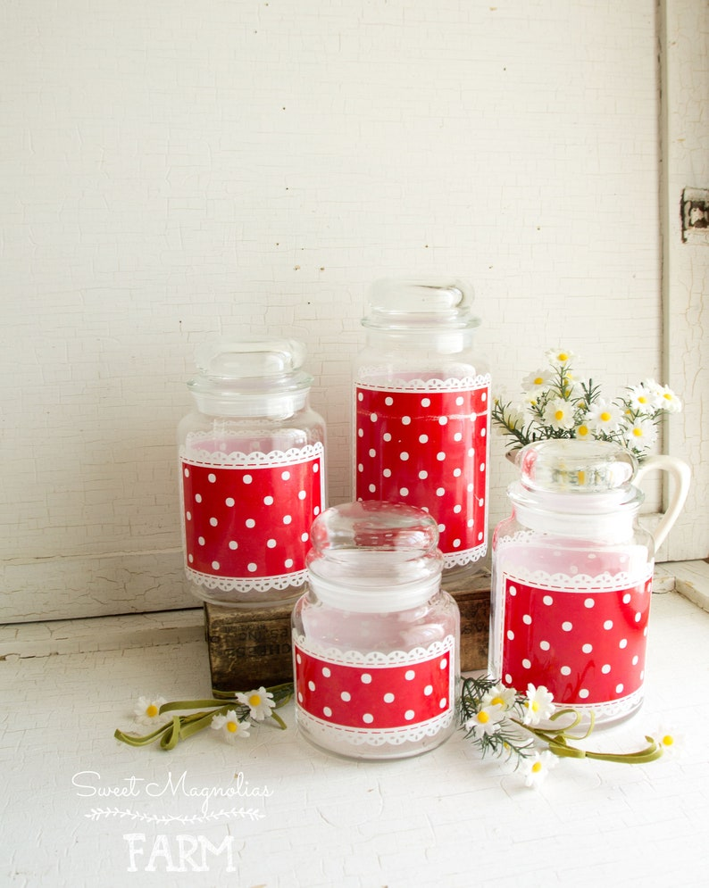 Vintage Ruffles and Dots Anchor Hocking Glass Canister Set of image 0