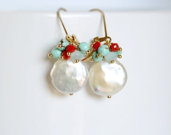 Coin pearl earrings with turquoise stones and crystals