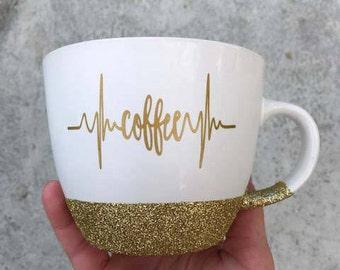 Glitter Coffee Mug - Coffee Heartbeat