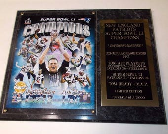 b996546f811 New England Patriots Super Bowl LI Tom Brady Photo Plaque Serial  Only  5