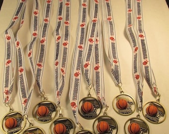 Youth Basketball Award Die Cast Metal Ribbon Lot of 10 Free Shipping Ships 2 Day Priority Mail