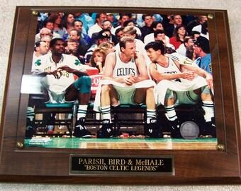 Boston Celtics Larry Bird Photo Plaque Parish,Bird McHale *Licensed* Walnut Ships 2 Day Priority Mail Gift Box