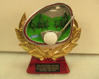 Golf Award Trophy Rosewood Base Free Custom Engraving Ships 2 Day Priority Mail Same Day!!