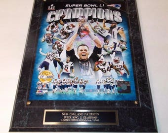 New England Patriots Super Bowl LI 8x10 Photo Plaque Serial# Only 5,000 Produced Ships 2 Day Priority Mail Gift Box