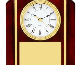 Desk Clock Office Presentation Award Rosewood Piano Finish Free Custom Engraving Ships 2 Day Priority Mail Same day!